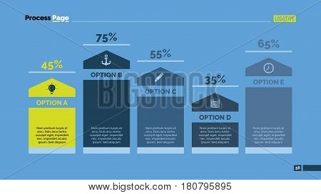 Five options percentage chart. Business data. Comparison, diagram, design. Creative concept for infographic, templates, presentation. Can be used for topics like analysis, economy, research.