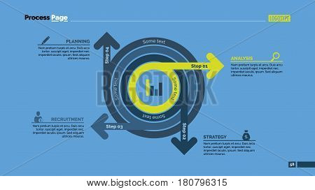 Four steps circles process chart slide template. Business data. Stage, diagram, design. Creative concept for infographic, presentation. Can be used for topics like management, strategy, training.