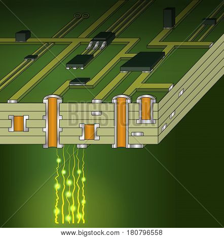 Cross-section of green motherboard with bright dots and rays. 3D illustration.