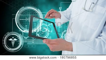 Digital composite of Digital composite image of doctor using digital tablet by medical icons