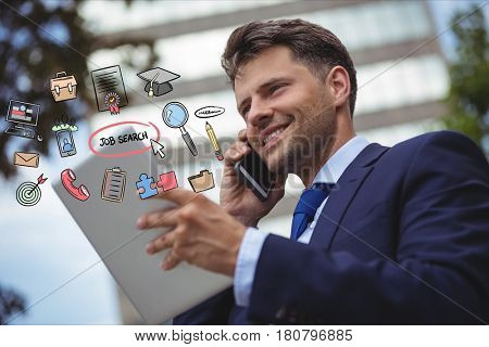 Digital composite of Happy businessman using smart phone and digital tablet with various job search icons