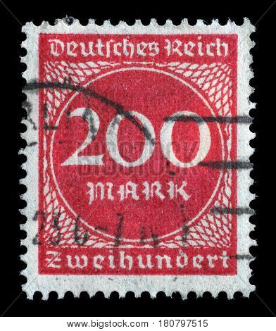 ZAGREB, CROATIA - JUNE 22: A postage stamp printed in Germany shows numeric value, circa 1923, on June 22, 2014.