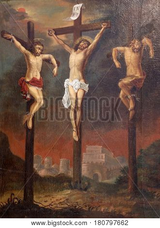 ZAGREB, CROATIA - MARCH 31: Calvary, Saint Dizma beside Jesus on the cross, Chapel of Saint Dismas in Zagreb, Croatia on March 31, 2015