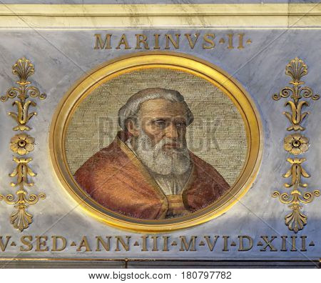 ROME, ITALY - SEPTEMBER 05, 2016: The icon on the dome with the image of Pope Marinus II, was Pope from 30 October 942 to his death in 946., basilica of Saint Paul Outside the Walls, Rome, Italy