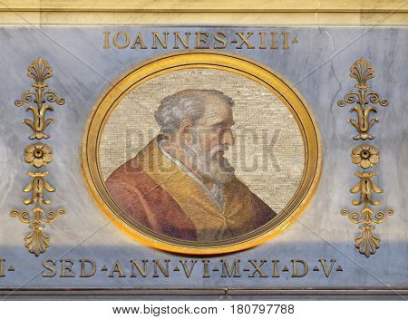 ROME, ITALY - SEPTEMBER 05, 2016: The icon on the dome with the image of Pope John XIII was Pope from 1 October 965 to his death in 972 in the basilica of Saint Paul Outside the Walls, Rome, Italy