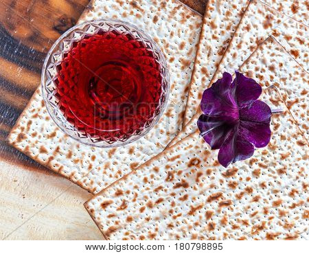 Pesakh celebration concept with traditional Jewish food and drink for Jewish Passover Holiday