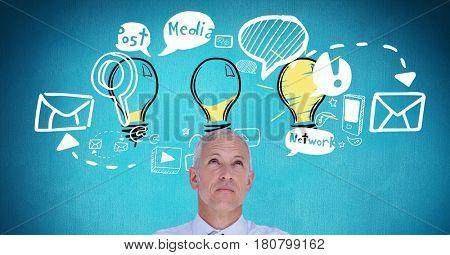 Digital composite of Digital composite image of businessman with idea icons