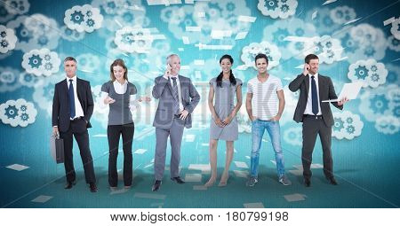 Digital composite of Digital composite image of business people with gear background