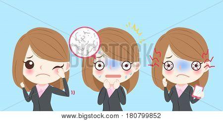 cute cartoon feel bad with eye pain on blue background
