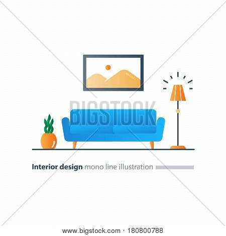 Living room interior design, sofa and floor lamp, picture and plant pot, minimalist style, vector flat illustration