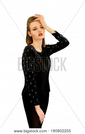 Image of a beautiful young girl in a black blouse