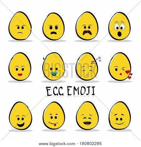 Flat design cartoon cute chicken egg character with different facial expressions, emotions. Set, collection of emoji isolated on clear background. Vector illustration