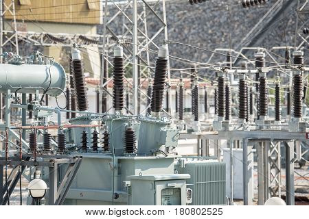 Transformer : The equipment used to raise or lower voltage high voltage power station.in new industry factory