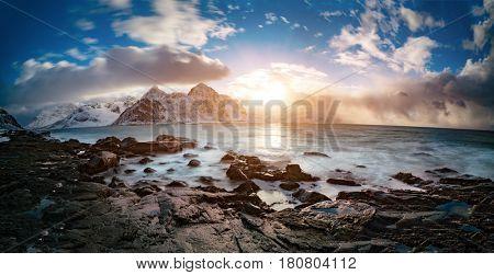 Sunrise on north sea. Norway