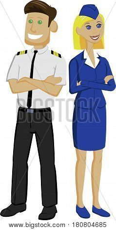 pilot and stewardess standing  with arms across   back to back as team