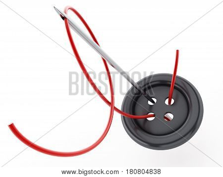 Sewing needle rope and button isolated on white background. 3D illustration.