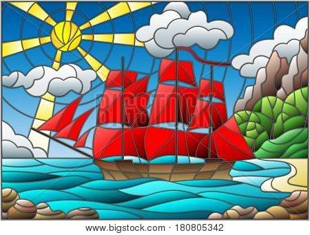 Illustration in stained glass style with sailboats with red sails against the sky the sea and the sunrise