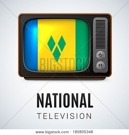 Vintage TV and Flag of Saint Vincent and the Grenadines as Symbol National Television. Button with flag colors