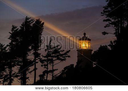 Heceta Head Lighthouse at night, Pacific coast, built in 1892, Oregon, USA