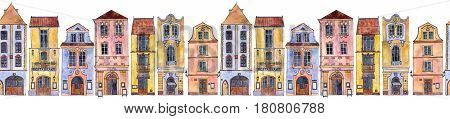 seamless pattern with european urban residential houses, painted in watercolor, city buildings at white background, hand drawn illustration
