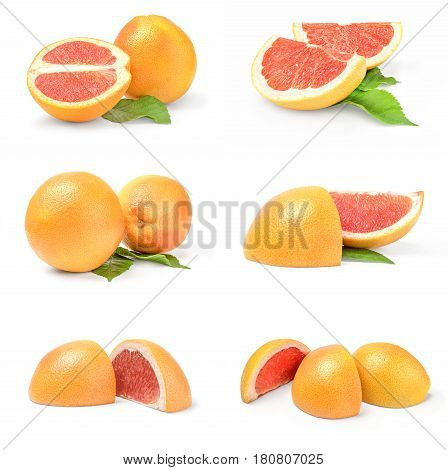 Group of grapefruit isolated on a white background cutout