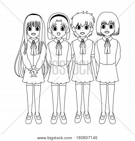 anime girls wearing school uniforms, icon over white background. vector illustration