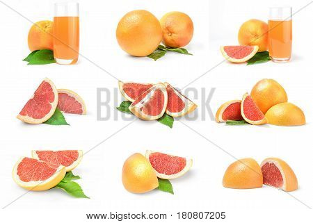 Collage of grapefruit isolated on a white background cutout