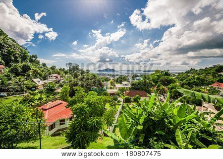 Overlook of Seychelles capital Victoria, Mahe island