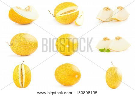 Collage of orange cantaloupe melon isolated on a white background cutout