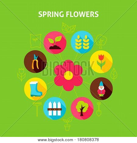Spring Flowers Concept. Vector Illustration of Nature Garden Infographics Circle with Flat Icons.