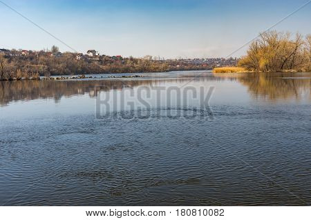 Early spring landscape with Dnepr river near Dnepr city Ukraine