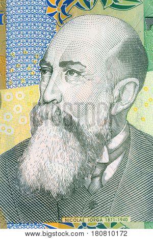 Nicolae Iorga portrait from Romanian money - Lei