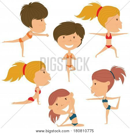 Female yoga vector collection. Pretty girls doing fitness exercises. Gymnastics for kids. Beauty women in various workout poses. Sport healthy lifestyle.