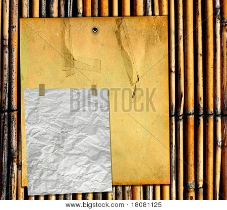 Old Blank Signs On Real Bamboo Fence