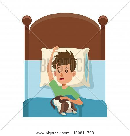 man slepping at the bed with his dog, cartoon icon over white background. colorful design. vector illustration
