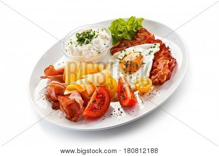 Fried egg with beacon - breakfast