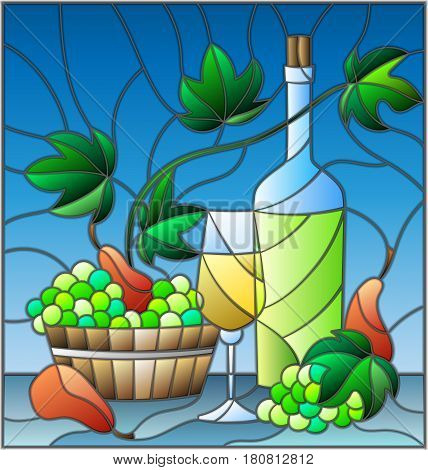 The illustration in stained glass style with a still life a bottle of white wine glass and grapes on a blue background