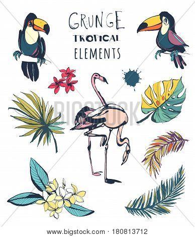 Tropical Summer Party Design Set Palm Leaves, Tropical Flowers, Birds.