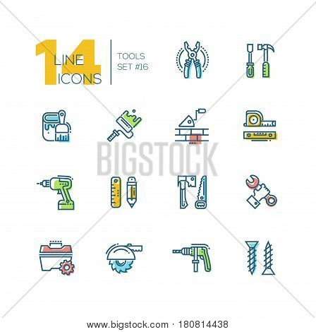 Tools - colored modern vector single line icons set. Pliers, screwdriver, hammer, paint, brush, roller, brick, trowel, tapeline, level, drill, pencil, ruler, saw, axe, wrench, hand, toolbox