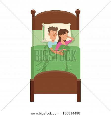 happy couple slepping at the bed, cartoon icon over white background. colorful design. vector illustration