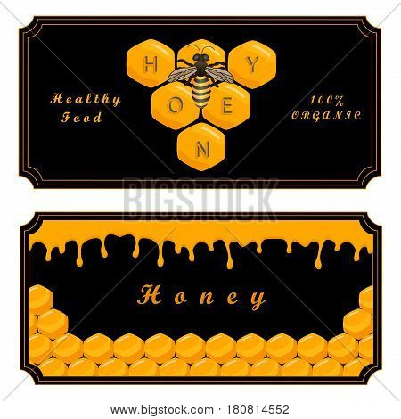 Vector illustration of logo for the theme bee eat honey yellow honeycomb background animal.Honey drawing pattern consisting of label food wax honeycombs beeswax live insect healthy.