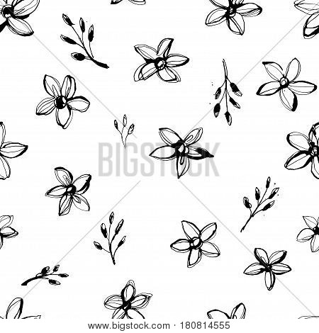 Vector Illustration Flowers Seamless Hand Drawn Pattern. Grunge Style Design