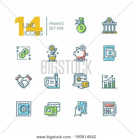 Finance - colored vector modern single line icons set. Money bag, dollar, euro, bank, credit card, safe, calculator, laptop, chart, saving pig, handshake.
