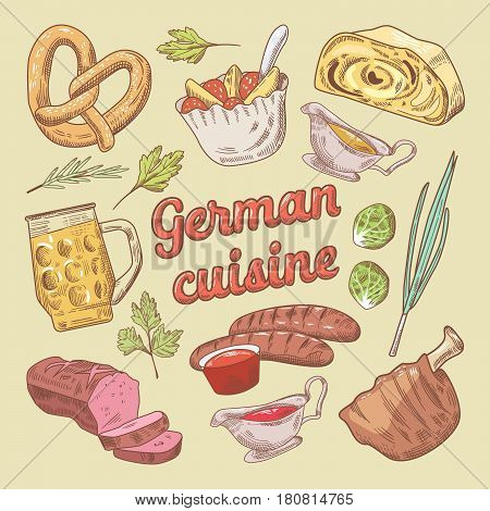 German Cuisine Food Doodle with Sausages and Pork Stew. Vector Hand Drawn illustration