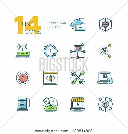 Connection - colored vector modern single line icons set. Cloud, interlink, power button, folder, drive, key, laptop, check, internet, router.