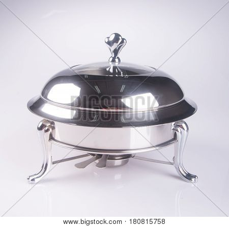 Food Containers Or Stainless Steel Food Warmer On Background.