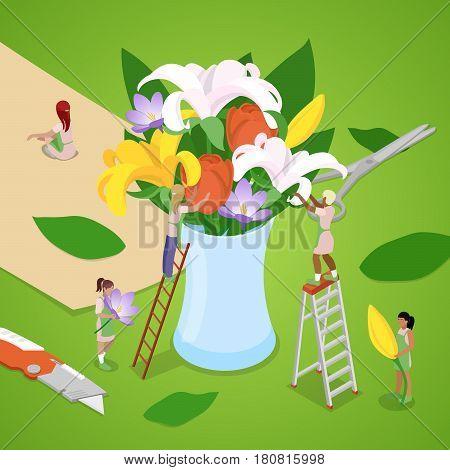 Miniature People Making Bouquet of Flowers. Florist Shop. Isometric vector flat 3d illustration