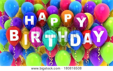 Balloons flying and note happy birthday. 3d illustration