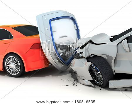 Two car crash and shield. Red auto Insurance. 3d illustration