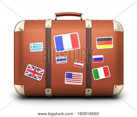 Abstract travel case and many flags. 3d illustration